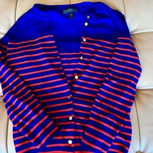 J Crew Striped Button Up Cardigan